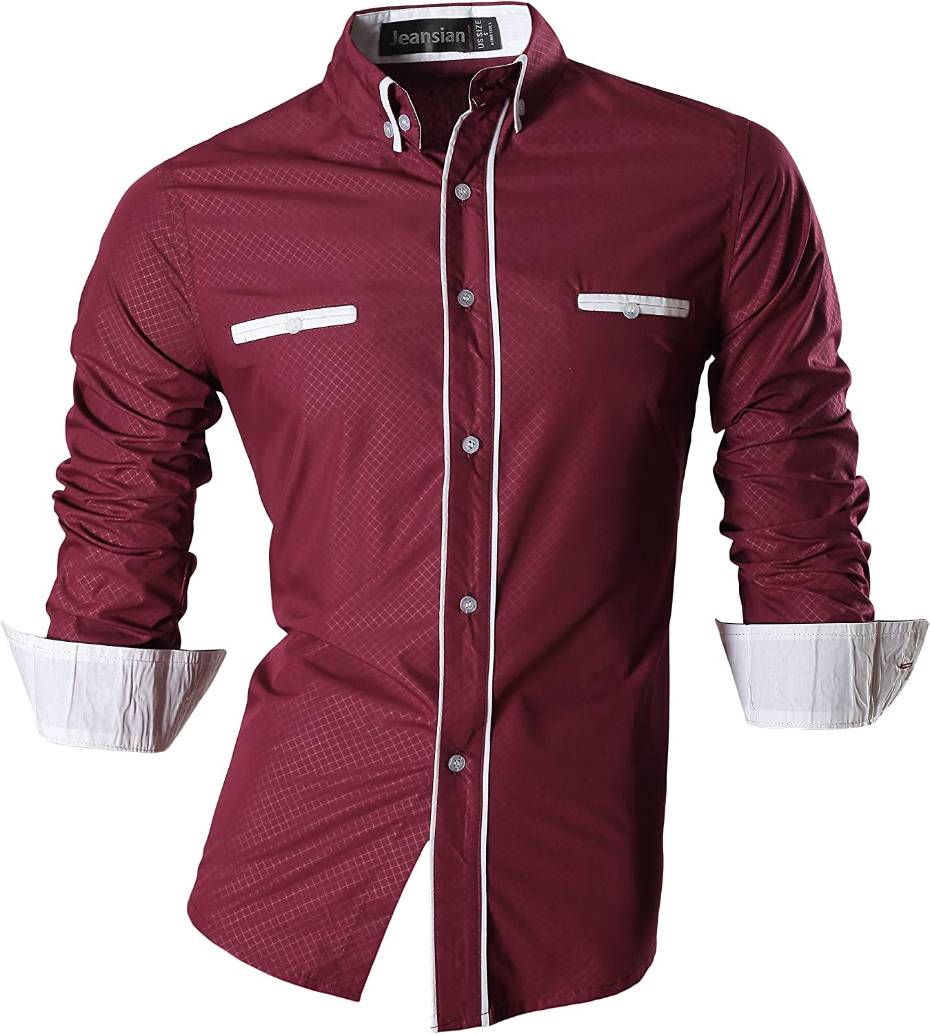 jeansian Mens Slim Fit Long Sleeves Casual Shirts
