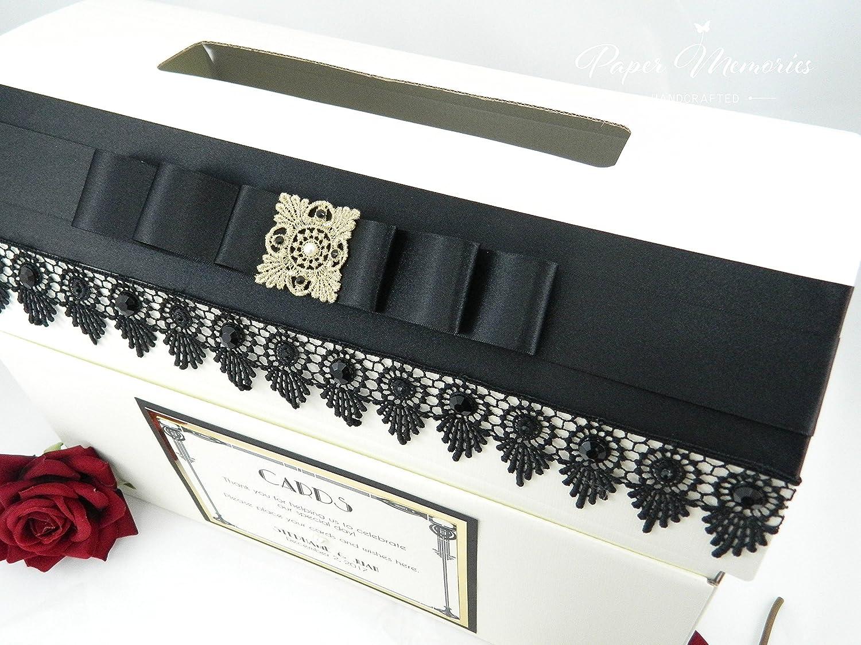 Paper Memories Personalised Gatsby Art Deco style Wedding Card Post Box (Ivory) Italian Options