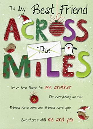 to my best friend across the miles across the miles christmas greeting card - What Should I Get My Best Friend For Christmas