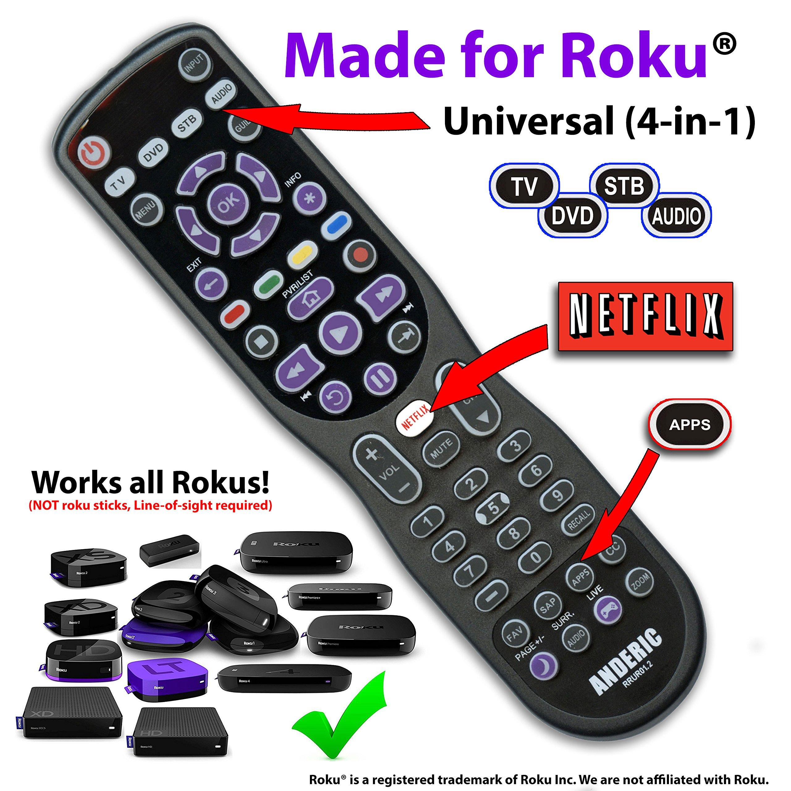 Made for Roku Anderic 4-Device Universal Remote Control for ALL TVs/Roku TVs/HDTVs/Smart (& Dumb) TVs/Blu-Ray Players/Audio/Sound Bars/Roku Universal Remote - RRUR01.2