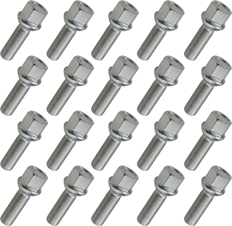 Carbonado Lot de 20 boulons de Roue M12x1,5 SW17 24mm pour Skoda VW Mercedes