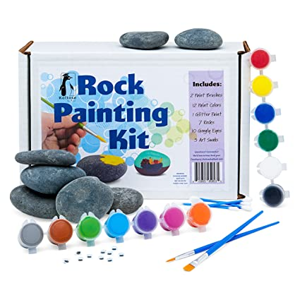 Deluxe Rock Painting Kit For Kids Kindness Rock Painting Supplies Set River Rock Arts And Crafts Projects For Girls And Boys Rock Painting Kit With