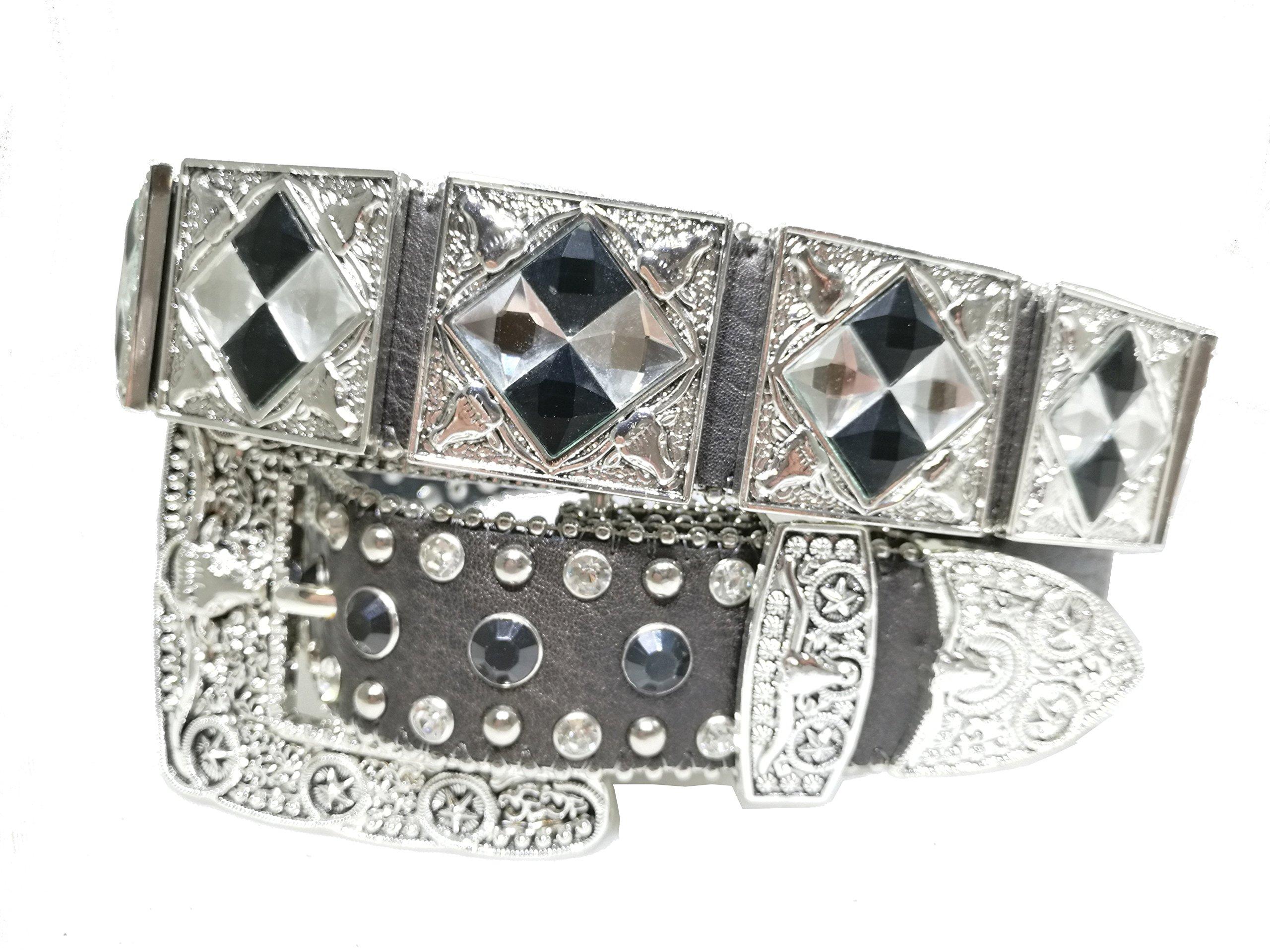 Mens Western Cowboy Cowgirl Silver Longhorn Star Plated Studded Glass Rhinestones Shiny Leather Belt