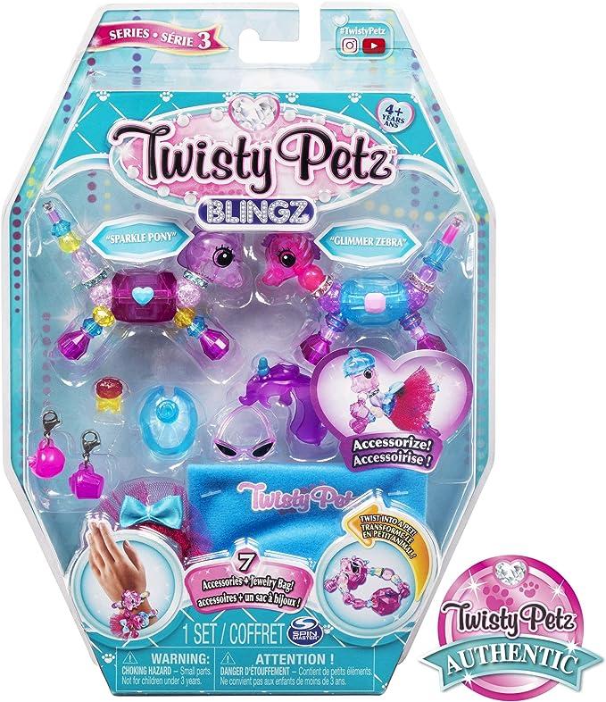 Amazon.com: Twisty Petz, Serie 3 Blingz, Pony y Zebra juego de pulsera personalizable para niños a partir de 4 años: Toys & Games