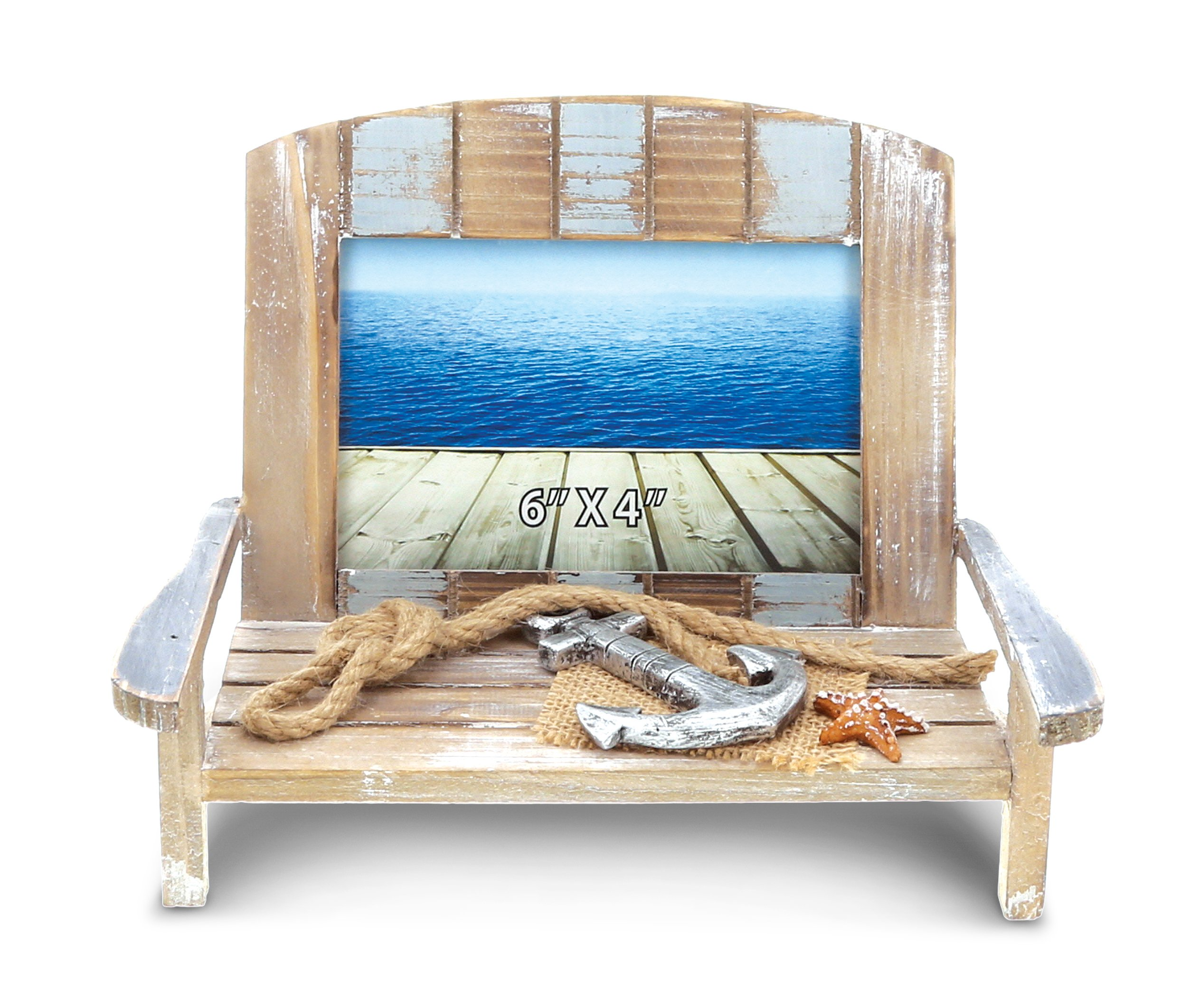 CoTa Global Neptune Beach Chair Photo Frame - Decorative Adirondack Miniature Chairs in Distressed Wood 4x6 Inch Beachcomber Weathered Vacation Memory Novelty Set - Nautical Themed Decor