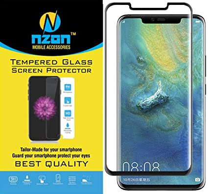 nzon Edge-to-Edge Curved Scratch Proof Bubble-free 9H 0 3 mm Tempered Glass  Screen Protectors for Huawei Mate 20 Pro (Black)
