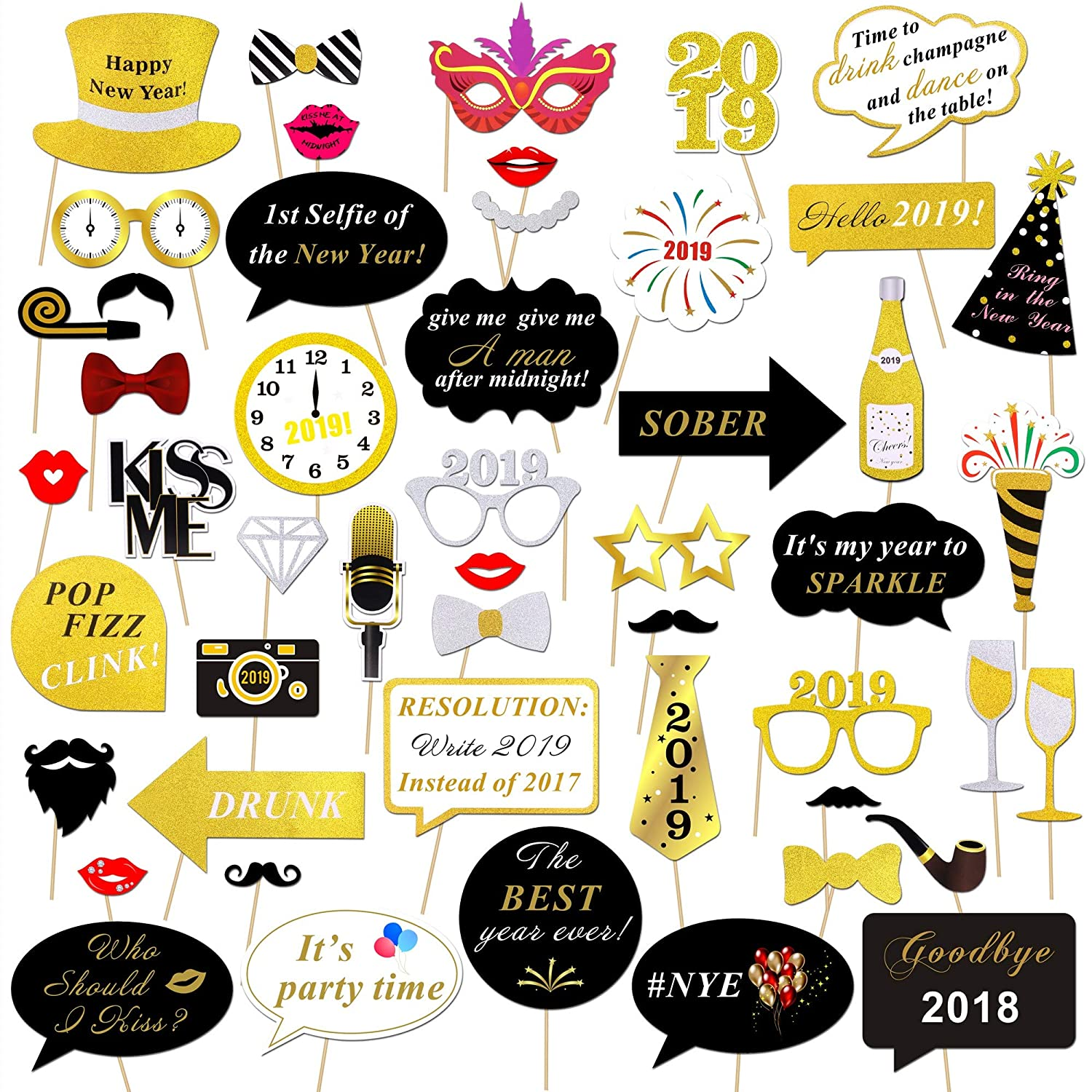 Konsait 2019 Years Photo Booth Props Kit(50pcs), Funny Glitter Years Eve Party Photo Booth Sticks Adult Kids Women Man Party Accessories 2019 Year Party Decor Decoration Favor Supplies