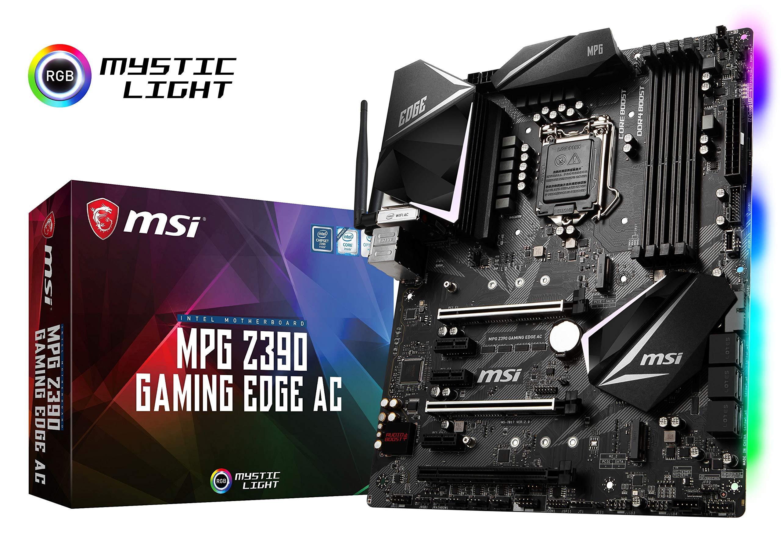 MSI MPG Z390 Gaming Edge AC LGA1151 (Intel 8th and 9th Gen) M.2 USB 3.1 Gen 2 DDR4 HDMI DP Wi-Fi SLI CFX ATX Z390 Gaming Motherboard by MSI