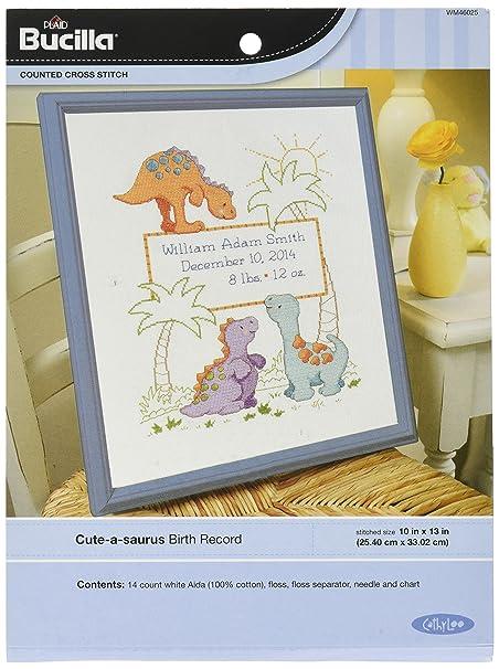 Bucilla Cuteasaurus Birth Record Counted Cross Stitch Kit Amazon