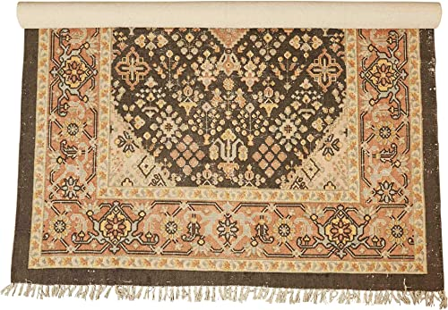 Creative Co-op 5 x 8 Woven Cotton Printed Rug, Brown Tan Peach