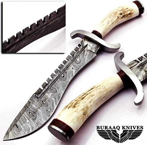 BURAAQ KNIVES Damascus Steel Knife Knife Handle Stag Antler with Steel Guard A Beautiful Work of Hunting Blades