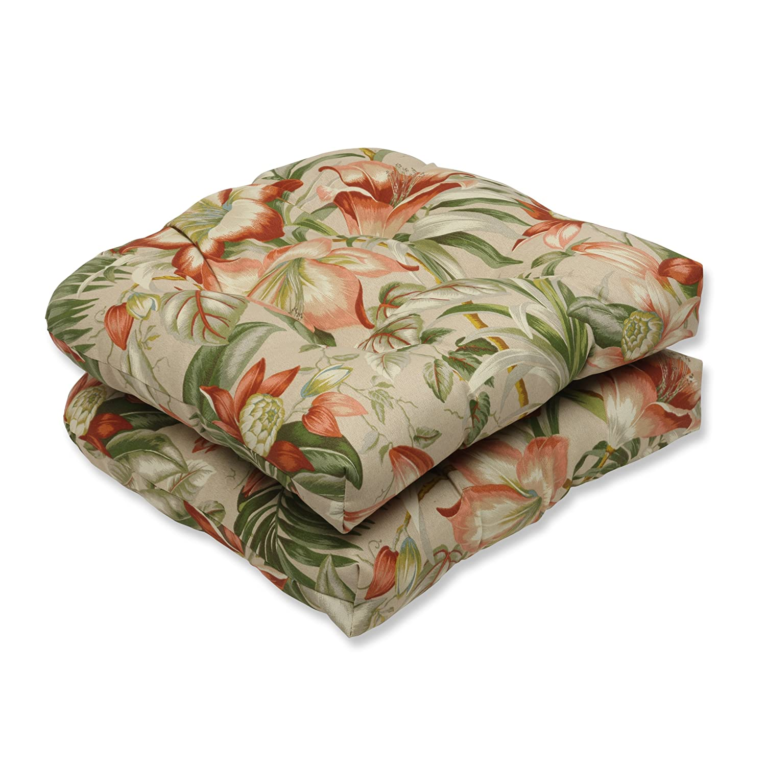 Pillow Perfect Outdoor Botanical Glow Tiger Wicker Seat Cushion, Set of 2