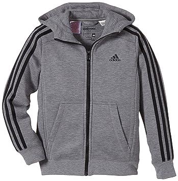 b3430b9f43b6e adidas Veste à Capuche pour garçon Essentials 3-Stripes Sweat zippé brossé  16 Ans Gris