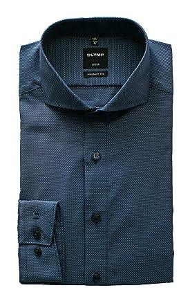 OLYMP Herren Hemd, Luxor Modern Fit, Blau Gemustert, Langarm 64cm, Bügelfrei , fccc633a5a