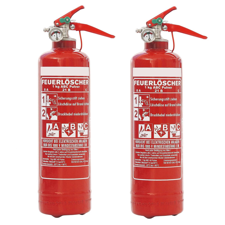 Auto Feuerlöscher 2x 1kg ABC Pulver mit KFZ-Drahthalter EN3 + ANDRIS® Prüfnachweis mit Jahresmarke & ISO-Symbolschild Folie