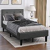 Upholstered Platform Bed, Twin Platform Bed Frame with Headboard