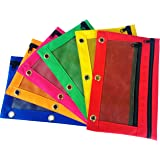 Pencil Pouch zippered dual compartment mesh window 3-Ring Binder canvas assorted color (6-Pack)