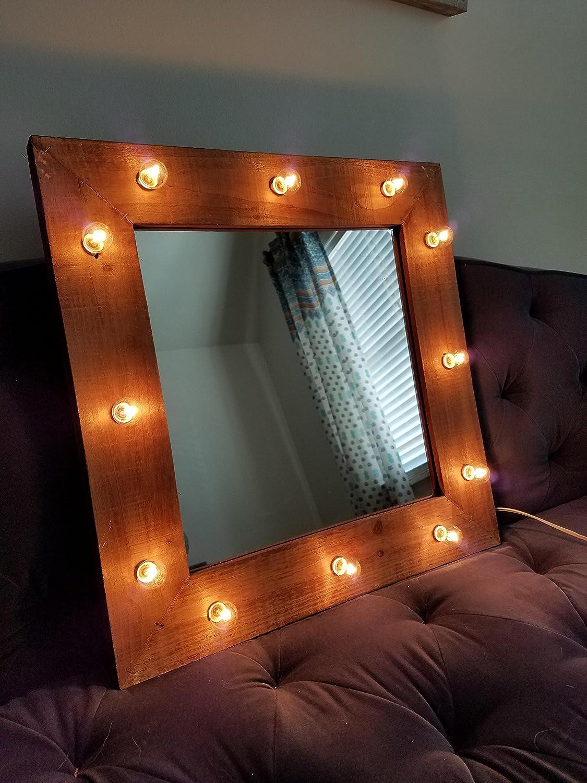 Amazoncom Wood Vanity Mirror Light Up Light Bulbs Rustic Farmhouse