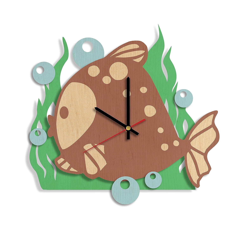 kids and teens Gift ideas for youth Handmade room wall art decor Modern wood wall clock Cute fish design wood wall clock