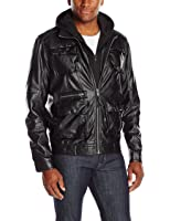 Members Only Men's L-Train Leather Jacket