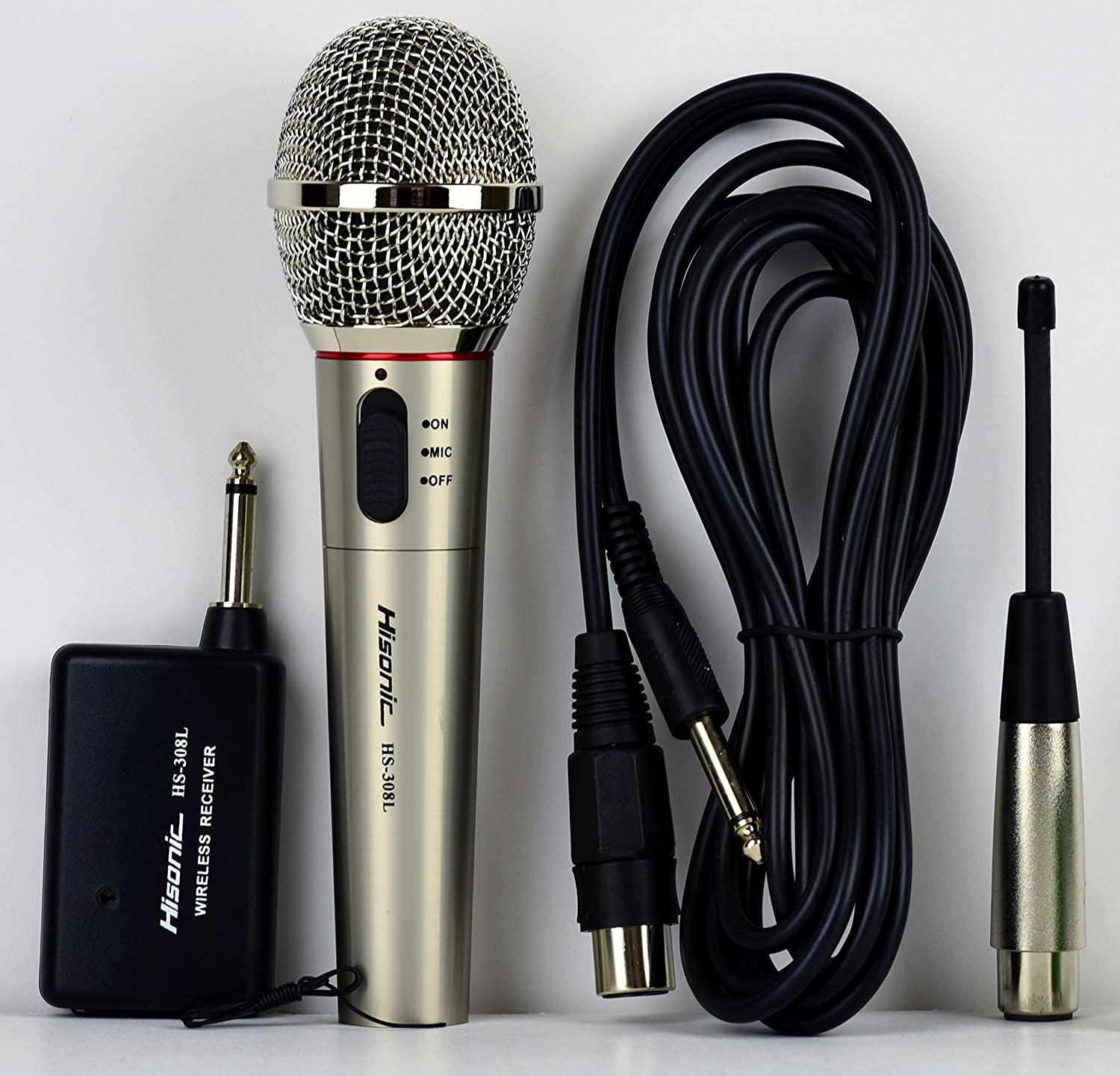 Hisonic HS308L Portable Wireless and Wired 2 in 1 Microphone for Home and Stage Use