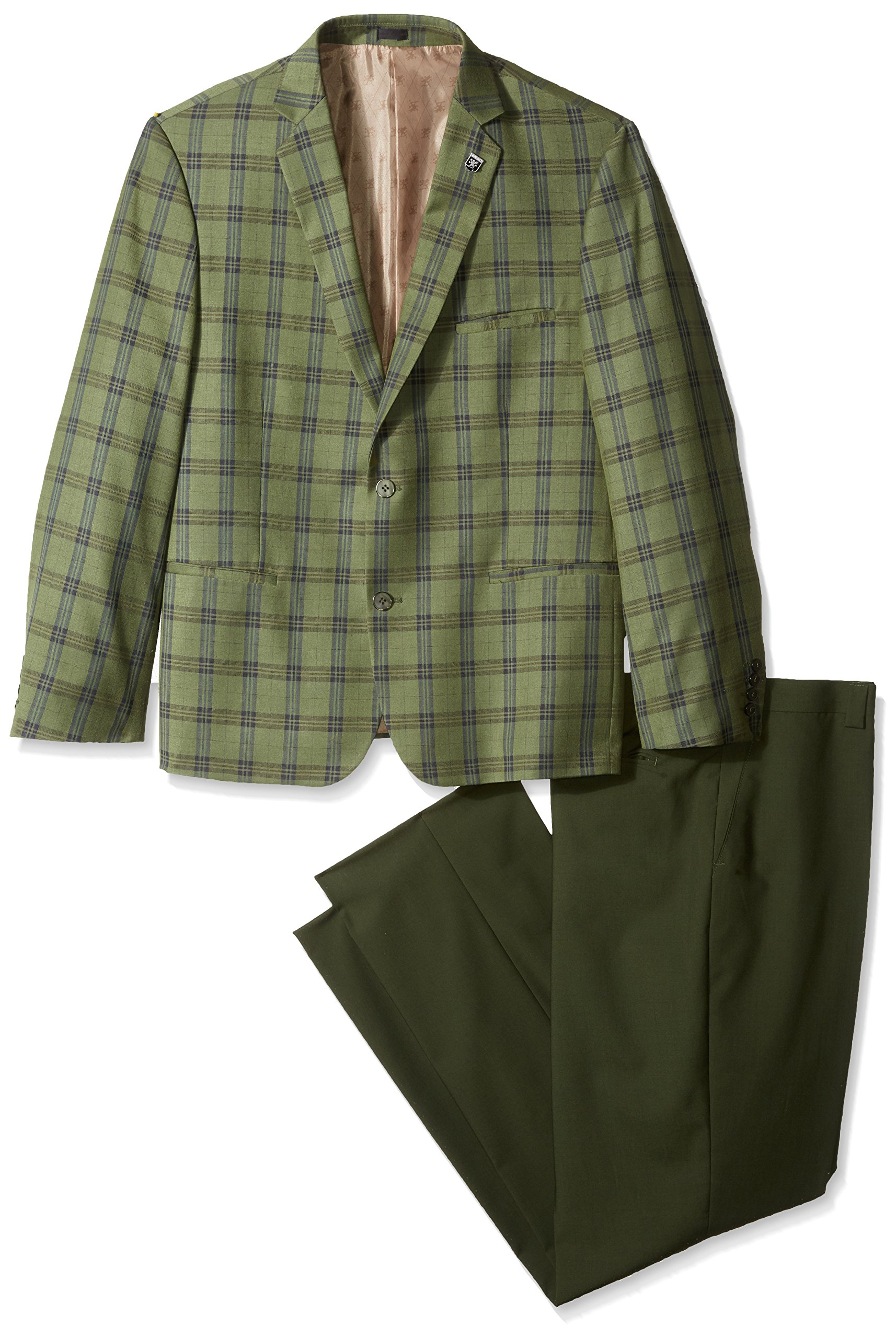 Stacy Adams Men's Big and Tall Brandi Duo Modern Fit Suit, Green, 54 Long