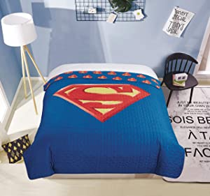 "JPI Quilted Bedspreads All-Season Reversible Blanket - Superman Shield - Twin Bed 86""x 68"" - Compliments Bed Sheet Set, Bed Skirt, Quilts Queen Size, Queen Bed Set, King Size Bed"