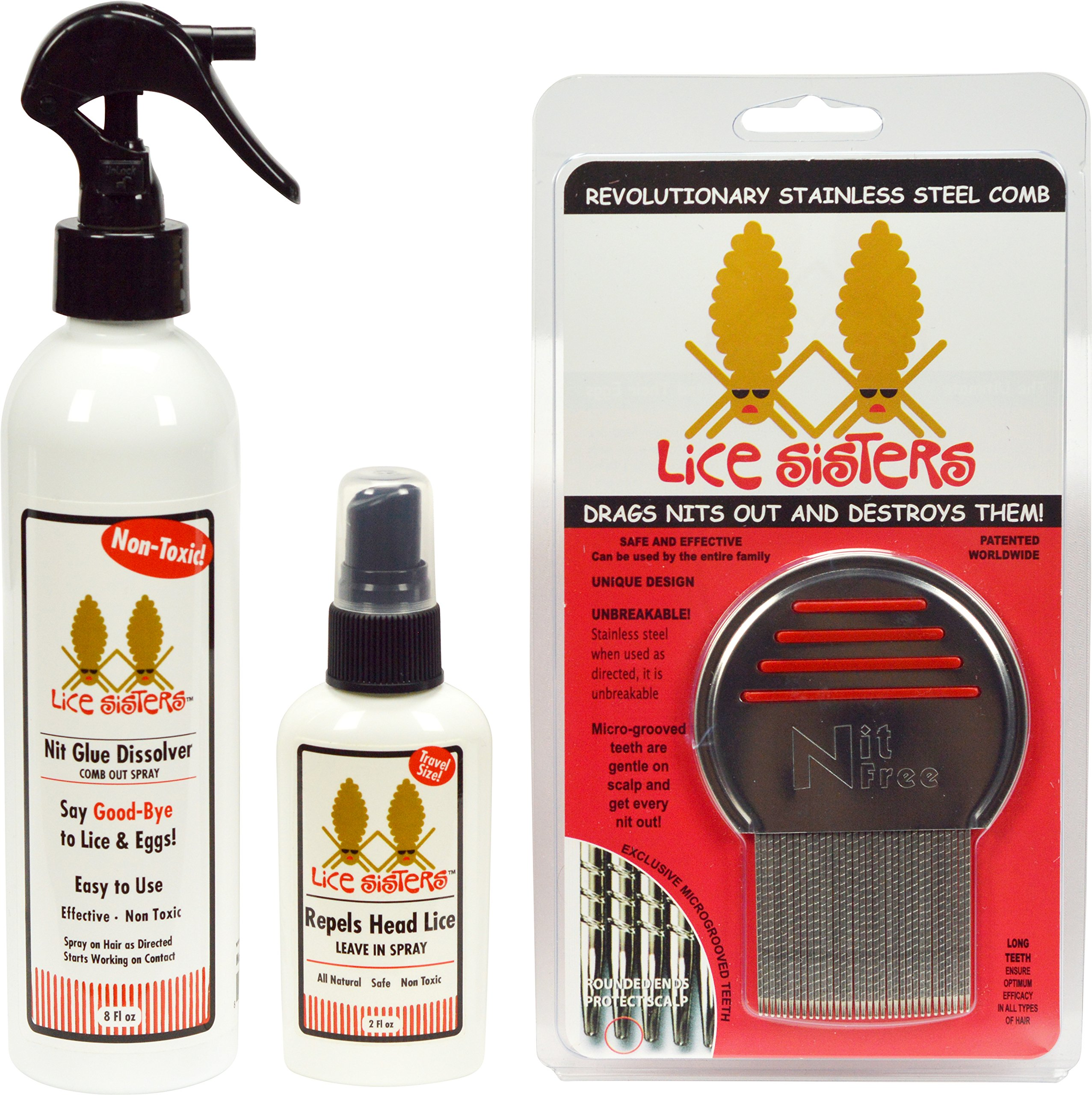 Lice Sisters Lice Treatment and Prevention Kit, Large - Nit Glue Dissolver, Repel Lice Prevention Spray and Comb for Nit and Lice Free Hair by Lice Sisters