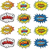 "Large Cardboard Superhero Word Cutouts (Size: 17"" X 13"") - 12 Pcs"