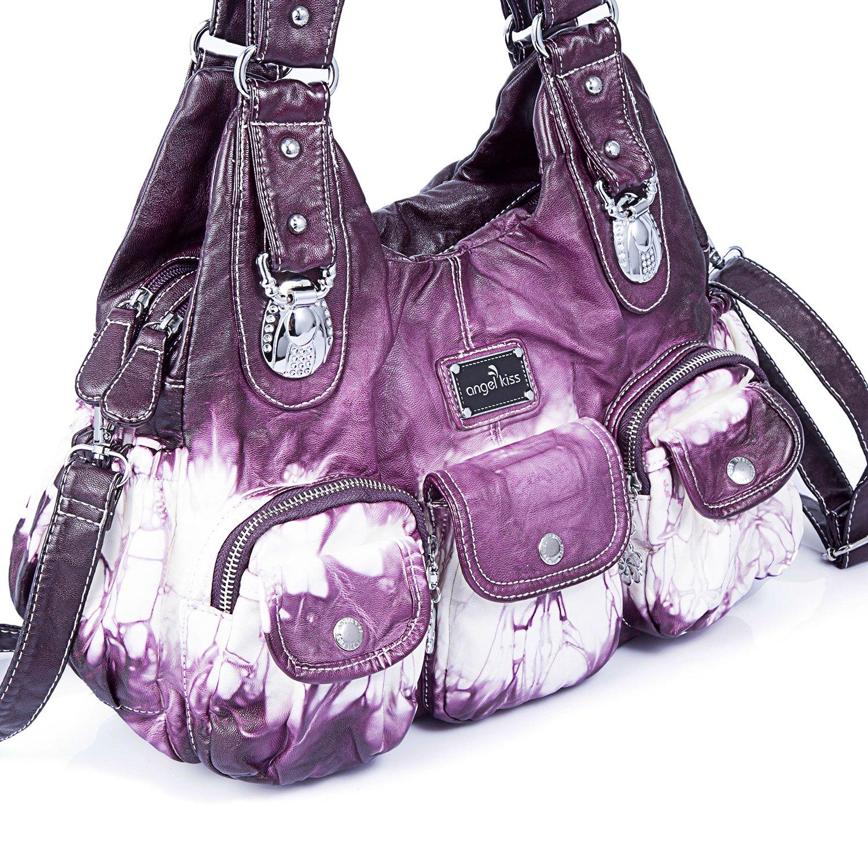 Handbag Hobo Women Handbag Roomy Multiple Pockets Street ladies' Shoulder Bag Fashion PU Tote Satchel Bag for Women (W7127Z Pureple) by Angel Kiss (Image #5)