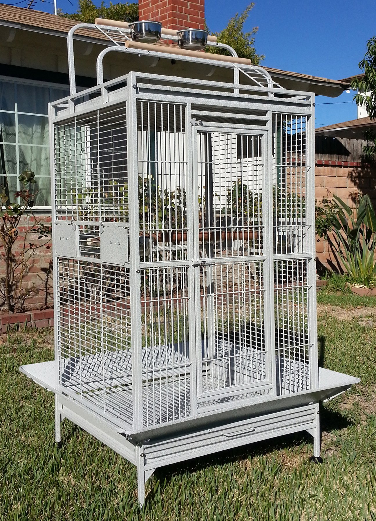Mcage New Large Wrought Iron Bird Parrot Cage Double Ladders Open/Close Play Top, Include Seed Guard and Open Play Top (White Vein) by Mcage