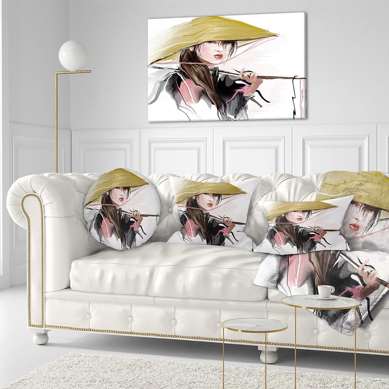 Designart CU7305-12-20 Vietnamese Woman Digital Art Portrait Throw Lumbar Cushion Pillow Cover for Living Room 12 in Sofa x 20 in Cushion Cover Printed on Both Side Pillow Insert