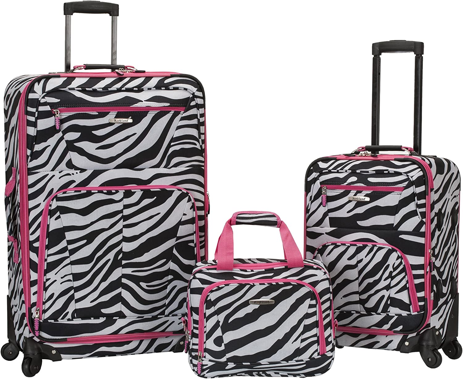 Rockland Pasadena Softside Spinner Wheel Luggage, Pink Zebra, 3-Piece Set (14/20/28)