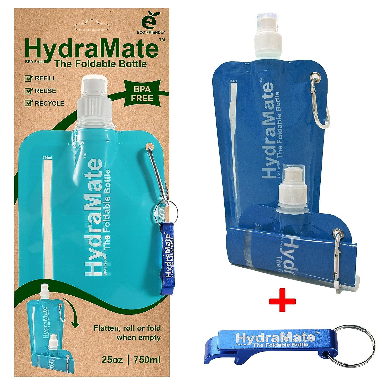 折りたたみ式水bottle-bpaフリー。Collapsible 26oz / 750ml。hydramate軽量、ソフト、Squeezable、環境に優しい折りたたみボトル。スポーツキャップ衛生的安全蓋付き。Refillable。カラビナクリップ。フリーキーリング! B01HR07YVI Pack of 2|Aqua/Blue Aqua/Blue Pack of 2