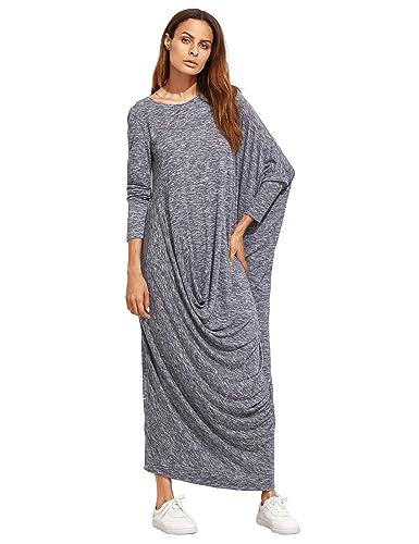 Verdusa Women's Long Sleeve Knit Draped Asymmetric Oversized Casual Shift Long Maxi Dress