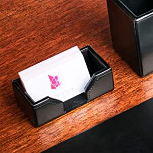 Dacasso Black Bonded Leather Business Card Holder