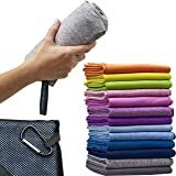 Microfiber Quick Dry Towel for Travel, Camping, RV, Beach, Sports, Gym, XL 30 x 60 inch – 2 in 1 - Smaller Hand Towel…