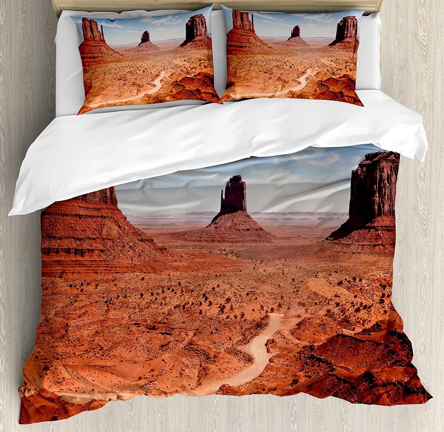 Ambesonne Western Duvet Cover Set American Desert Arizona Canyon Monuments Valley National Park Wild West Theme Decorative 3 Piece Bedding Set With 2 Pillow Shams King Size Cinnamon Blue Home