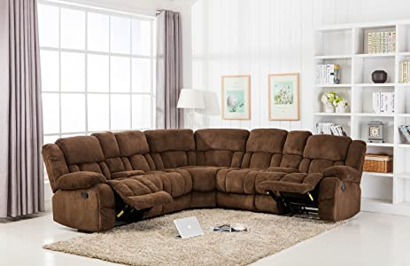 Classic Large Linen Fabric L Shape Sectional Recliner Sofa Couch (Brown)