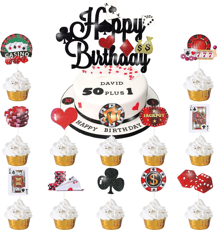 33pcs Casino Poker Party Decorations,Poker Theme Birthday Cake Cupcake Topper for Las Vegas Casino Night Poker Events Birthday Supplies Casino Poker Theme Cake Topper Food Picks Decoration Supplies