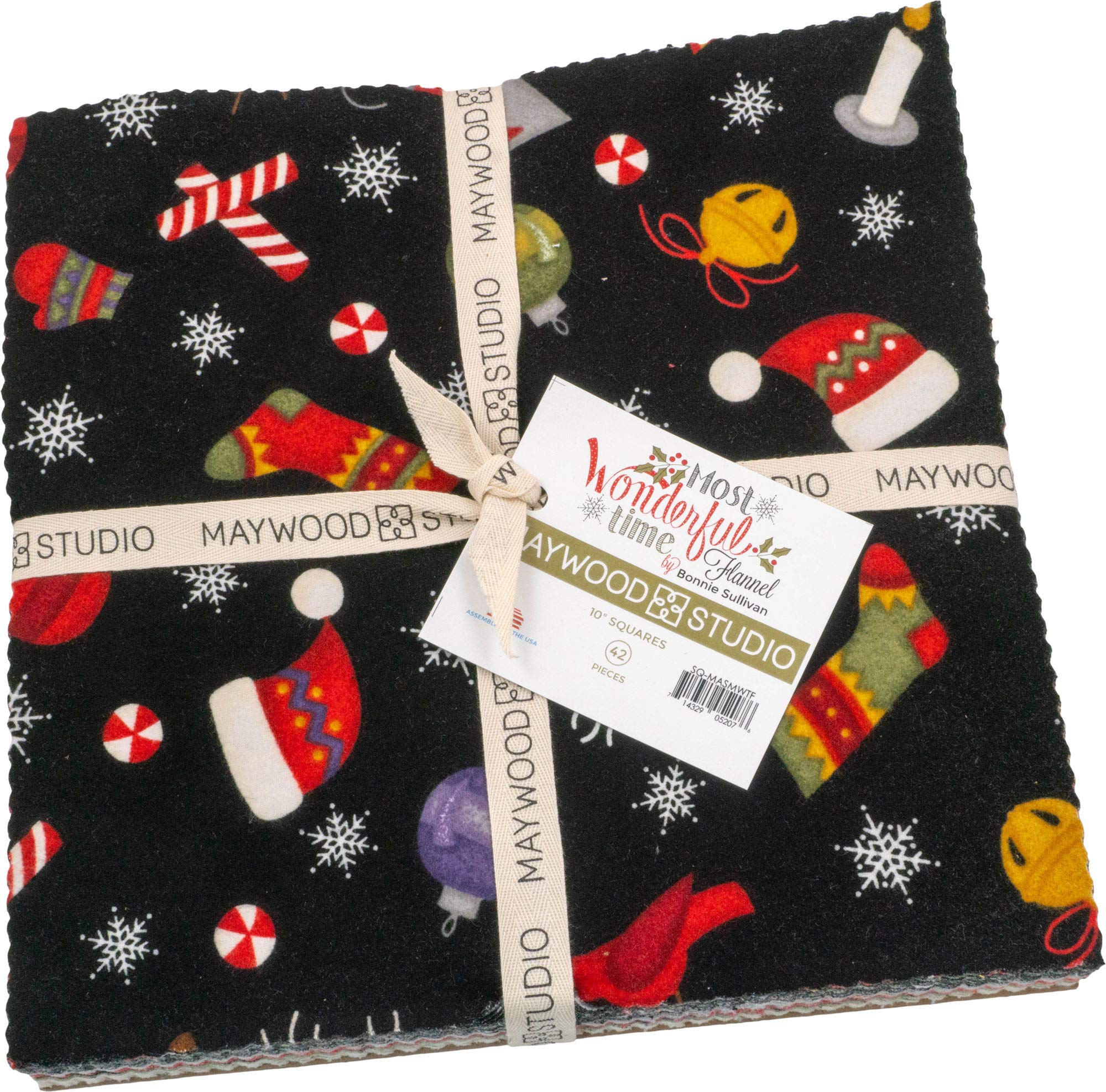 Bonnie Sullivan Most Wonderful Time Flannel 10'' Squares 42 Pieces Layer Cake Maywood Studio by Maywood Studio
