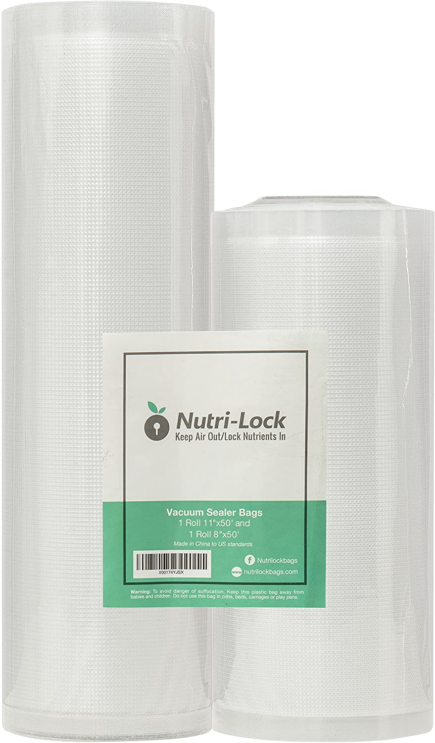 Nutri-Lock Vacuum Sealer Bags. 2 Rolls 11x50 and 8x50. Commercial Grade Food Saver Bags Rolls. Works with FoodSaver. Perfect for Sous Vide