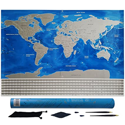 Amazon scratch off world map poster large size 32x23 in scratch off world map poster large size 32x23 in detailed cartography with us states gumiabroncs Choice Image