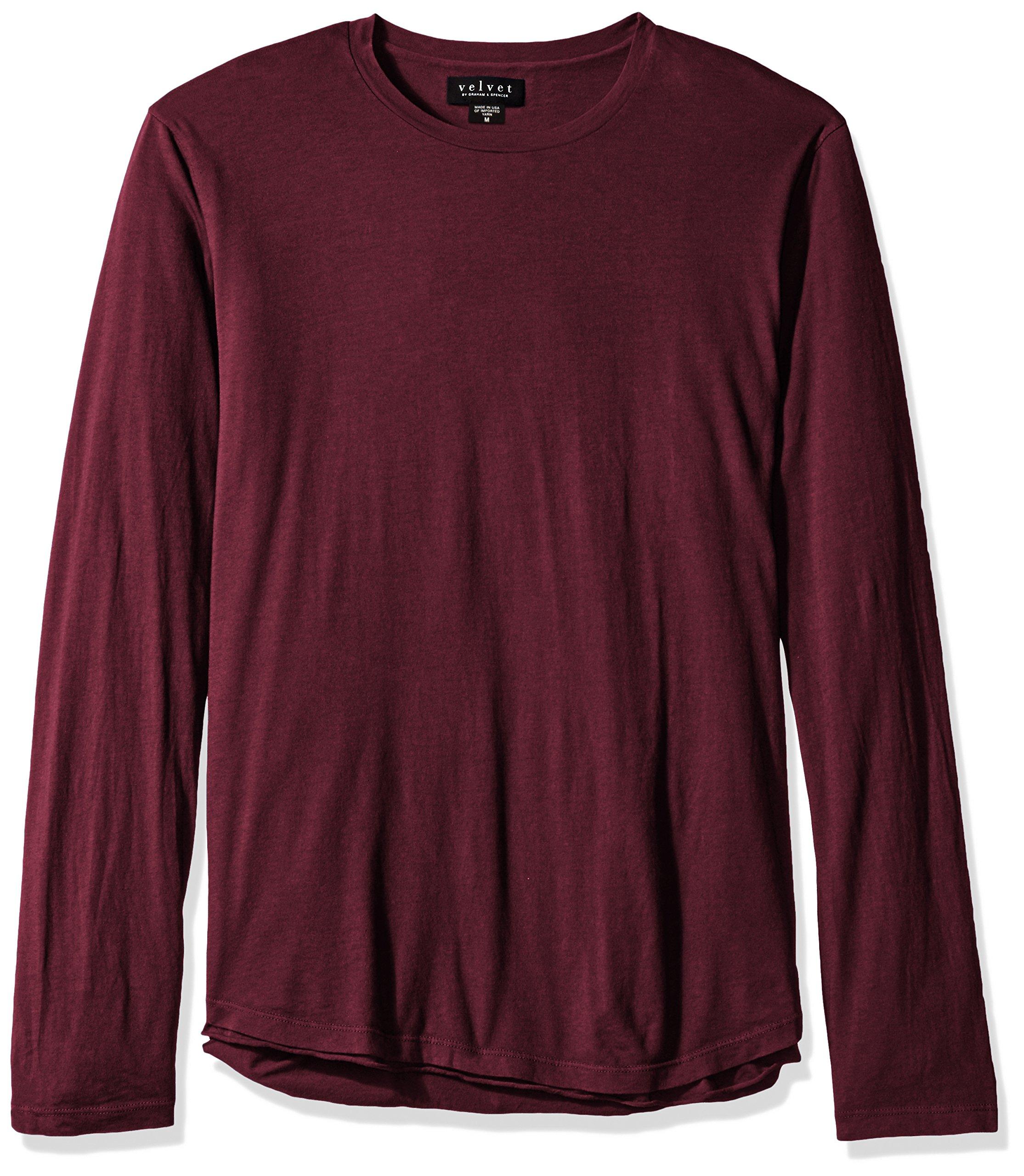 VELVET BY GRAHAM & SPENCER Men's Charleston Double Layer Long Sleeve Shirt, Chianti, Small