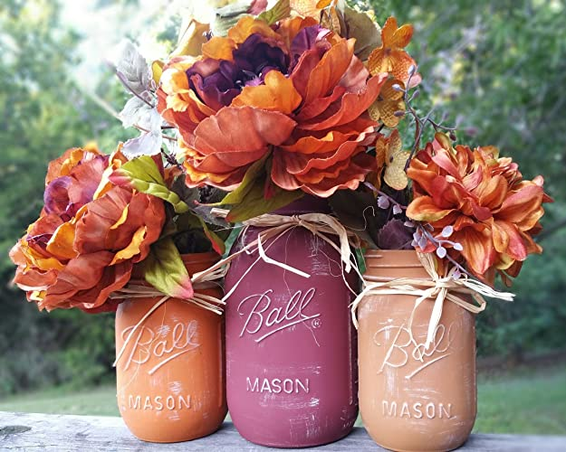 Amazon Com Fall Mason Jars Fall Mason Jar Centerpiece Trio Of