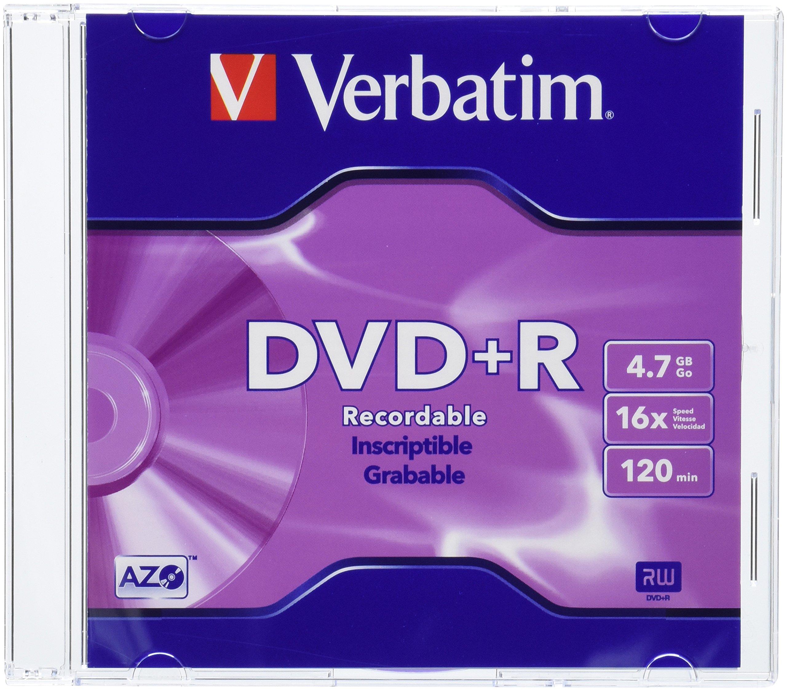 Verbatim 4.7 GB up to 16X Branded Recordable Disc DVD+R 10-Disc Slim Case 95097