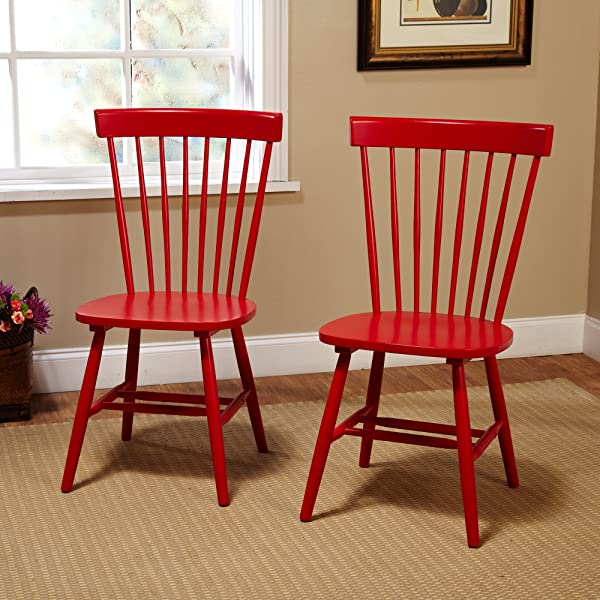 Target Marketing Systems 64918RED PR Venice Set of 2 Dining Chairs, Red