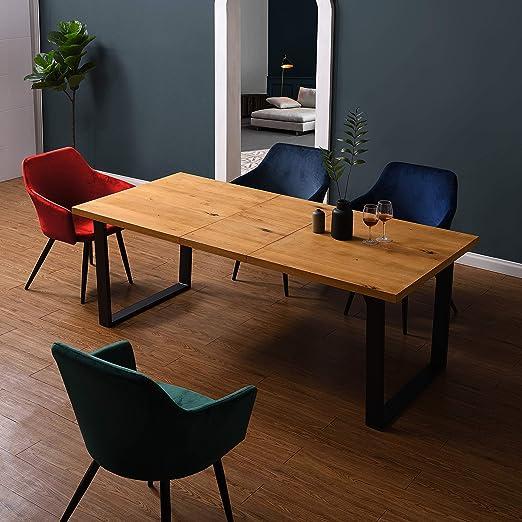 Cherry Tree Furniture BERN Mesa de comedor extensible de 6 a 8 plazas de roble con patas de metal: Amazon.es: Hogar