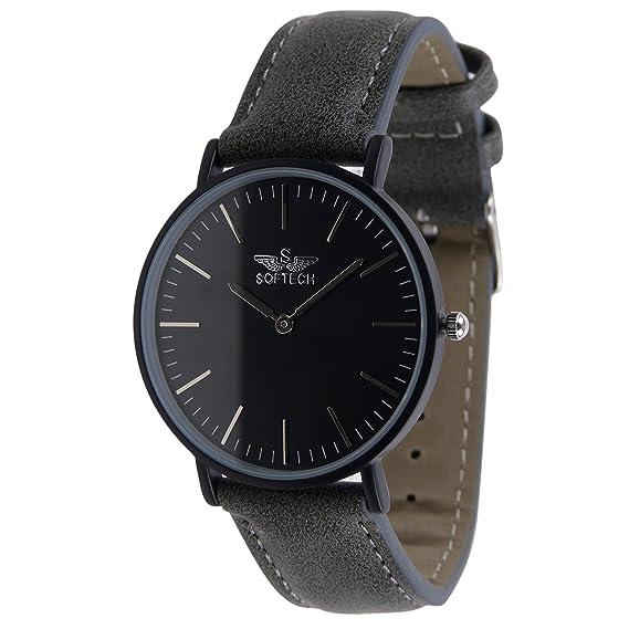 Reloj clásico para hombre de Softech, piel sintética con diseño de tendencia (funda negra