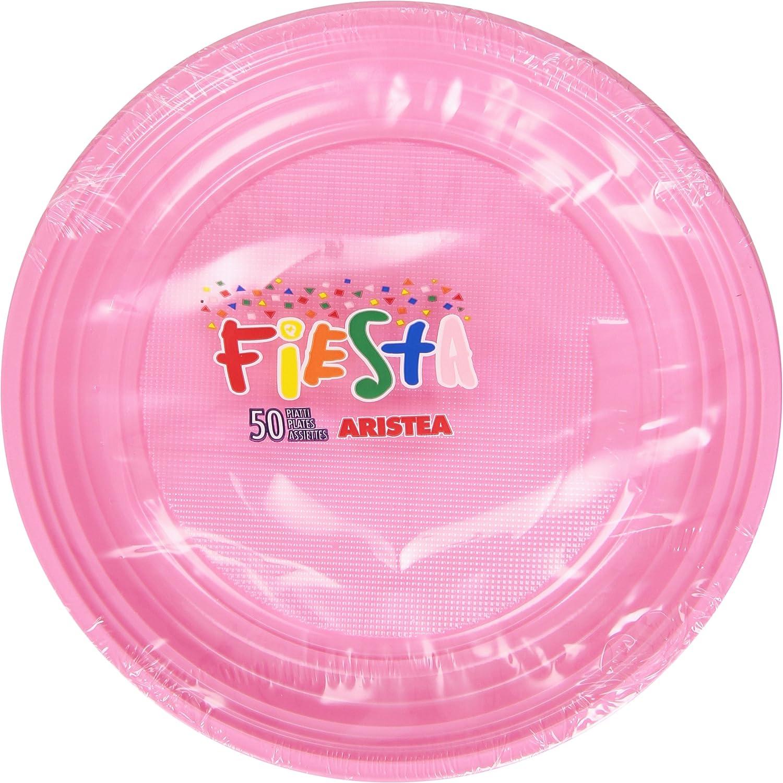 Rose Fiesta Lot DE 50 Assiettes en Plastique